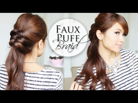 Effortless 5 Min Hairstyle ♥ Fake Puff Braid Hair Tutorial